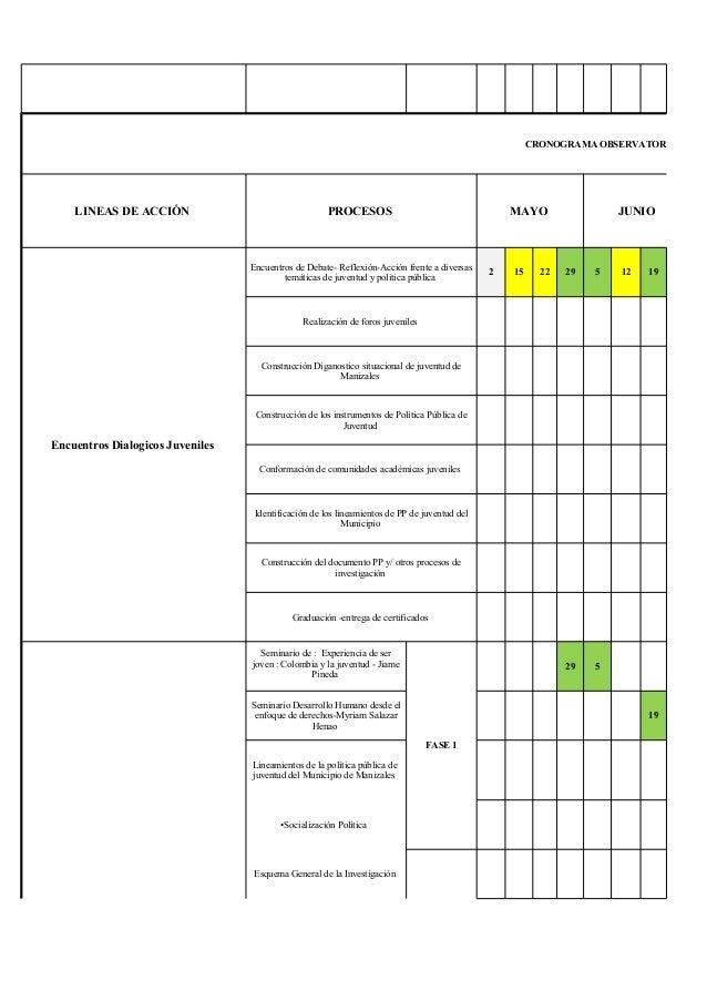 excel cronograma de actividades cronograma observatorio de inf lineas de accin procesos mayo junio encuentros dialogicos