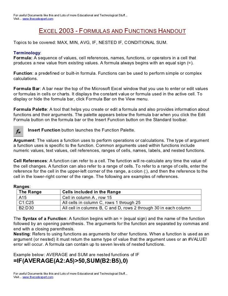 Excel Formulas Functions