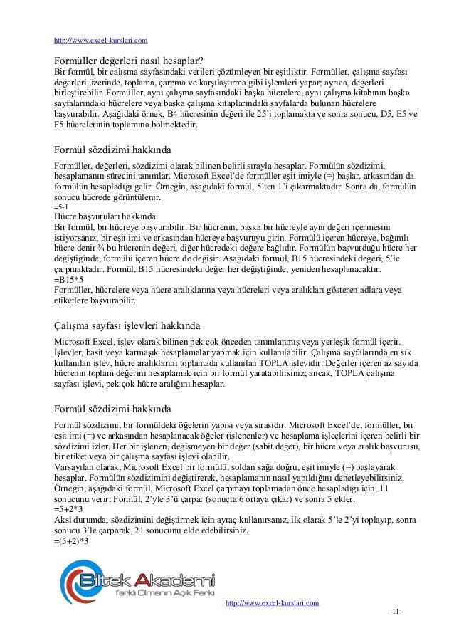 Excel Kursu Egitimi Formuller
