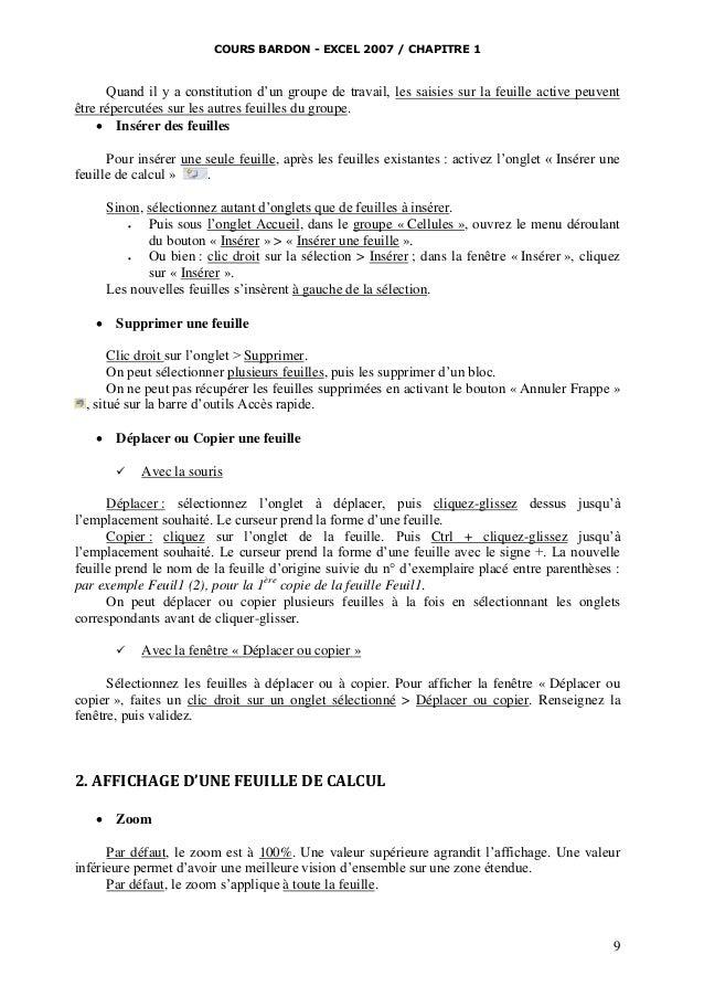 COURS BARDON - EXCEL 2007 / CHAPITRE 1  Quand il y a constitution d'un groupe de travail, les saisies sur la feuille activ...