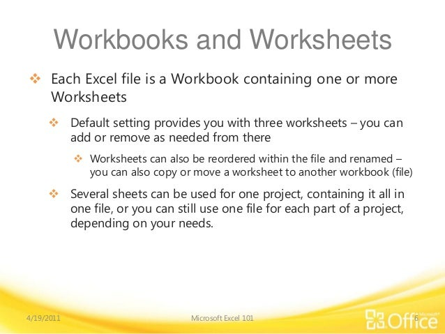 Worksheets An Excel File That Contains One Or More Worksheets ms excel 2010 training module 6 workbooks and worksheets each file is a workbook containing one or more