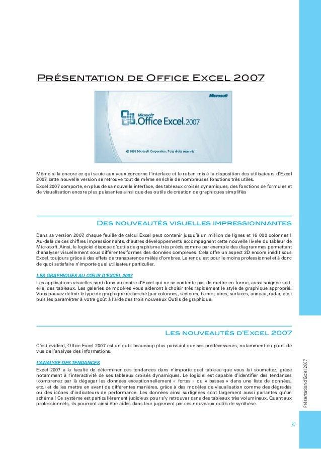 Présentation de Office Excel 2007  Même si là encore ce qui saute aux yeux concerne l'interface et le ruban mis à la dispos...