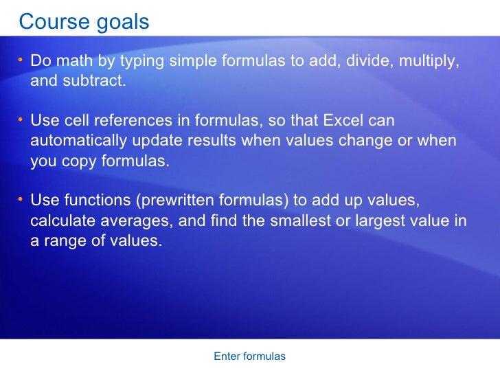 Excel 2007 Enter Formulas