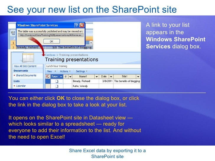 Excel 2007 Share Excel Data By Exporting It To A Share Point