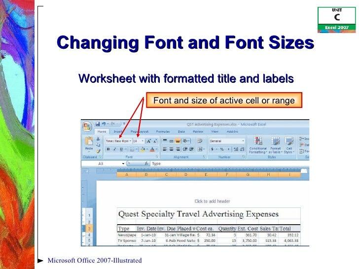 Excel 2007 Unit C