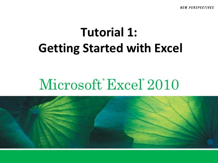 Tutorial 1: Getting Started with Excel<br />
