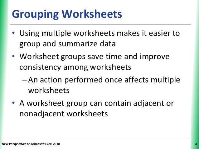 Tutorial 6 Multiple Worksheets and Workbooks – Grouping Worksheets in Excel