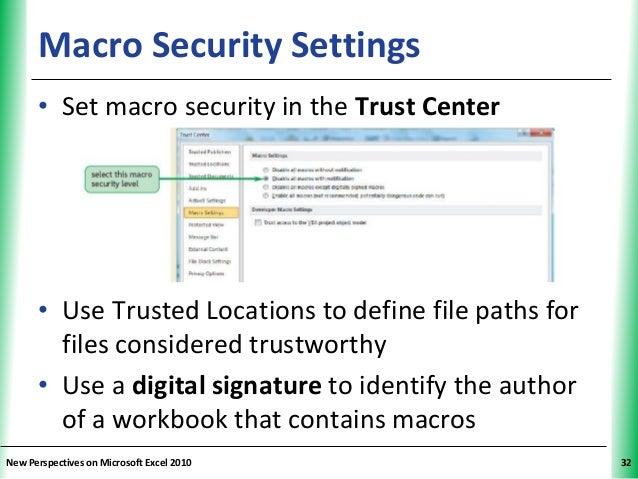excel 2010 macro security