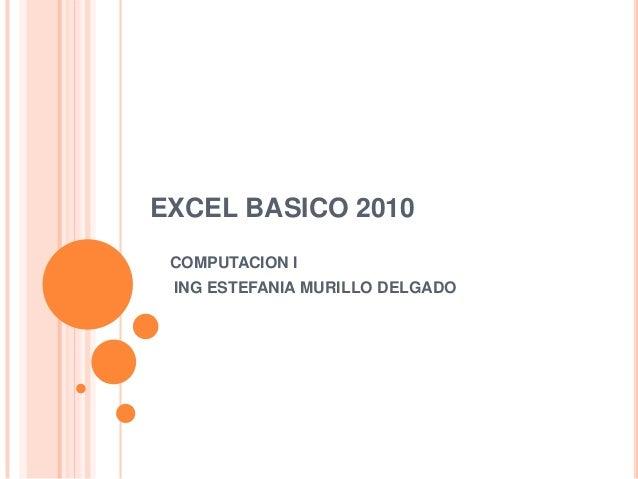 EXCEL BASICO 2010 COMPUTACION I ING ESTEFANIA MURILLO DELGADO