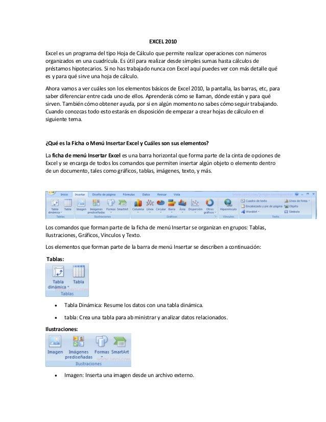 Partes básicas de Excel 2010