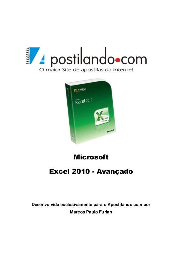 Microsoft Excel 2010 - Avançado  Desenvolvida exclusivamente para o Apostilando.com por Marcos Paulo Furlan
