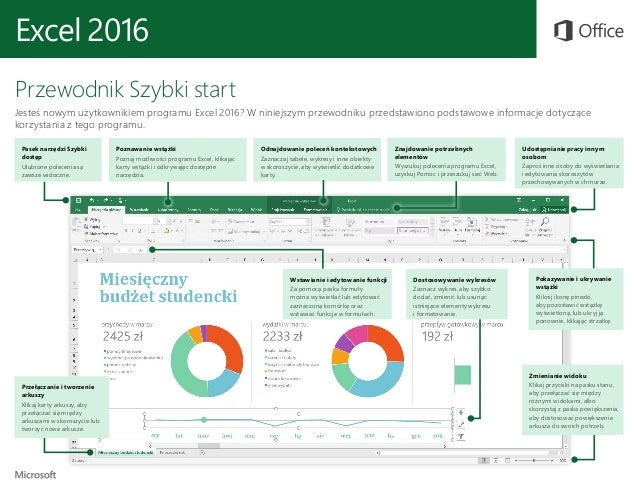 Excel 2016 Przewodnik Szybki start Jesteś nowym użytkownikiem programu Excel 2016? W niniejszym przewodniku przedstawiono ...