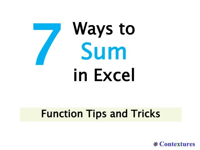 Ways to Sum in Excel 7 Function Tips and Tricks