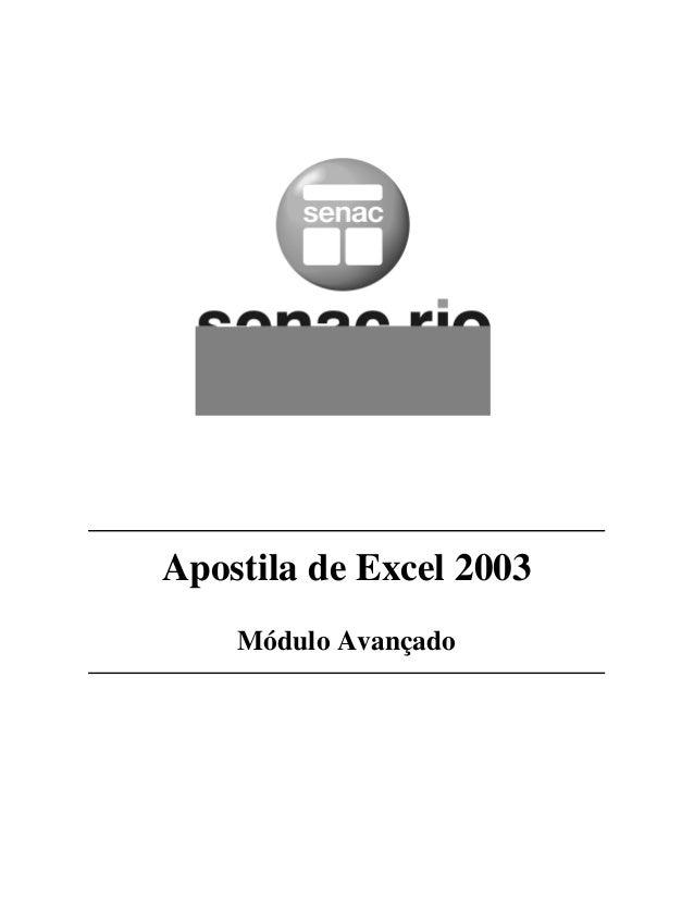Apostila de Excel 2003 Módulo Avançado