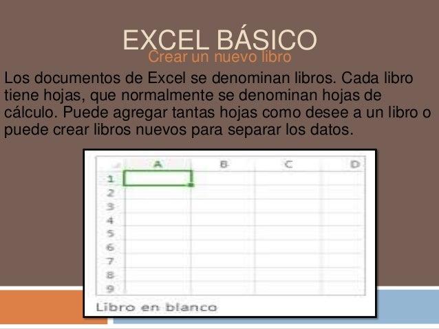 EXCEL nuevo libro BÁSICO Crear un Los documentos de Excel se denominan libros. Cada libro tiene hojas, que normalmente se ...