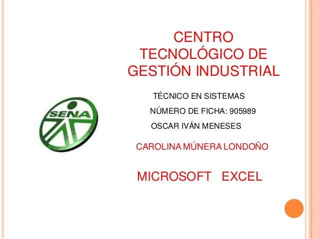 CENTRO TECNOLÓGICO DE GESTIÓN INDUSTRIAL TÉCNICO EN SISTEMAS NÚMERO DE FICHA: 905989 MICROSOFT EXCEL CAROLINA MÚNERA LONDO...
