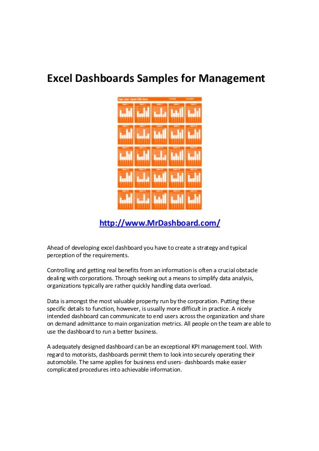 Excel Dashboards Samples for Management http://www.MrDashboard.com/ Ahead of developing excel dashboard you have to create...