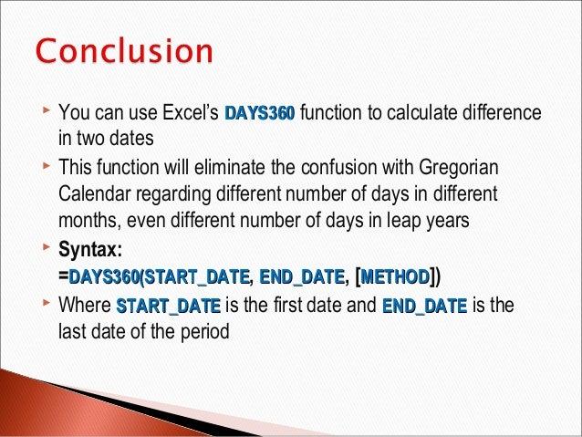 calculate number of calendar days