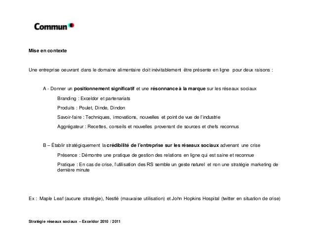 Stratégie réseaux sociaux – Exceldor 2010 / 2011 Mise en contexte Une entreprise oeuvrant dans le domaine alimentaire doit...