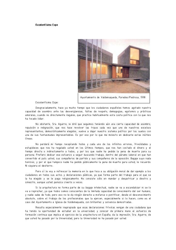 Excelentísima Espe                                              Ayuntamiento de Valdemaqueda, Paredes/Pedrosa, 1998       ...