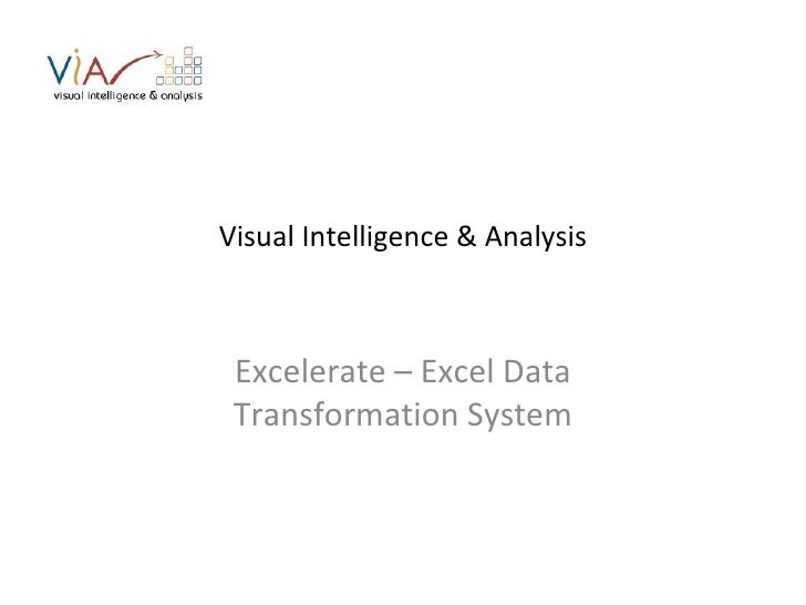 Visual Intelligence & Analysis Excelerate – Excel Data Transformation System