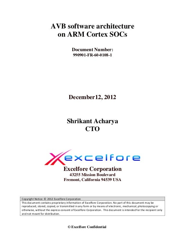 AVB software architecture                        on ARM Cortex SOCs                                        Document Number...