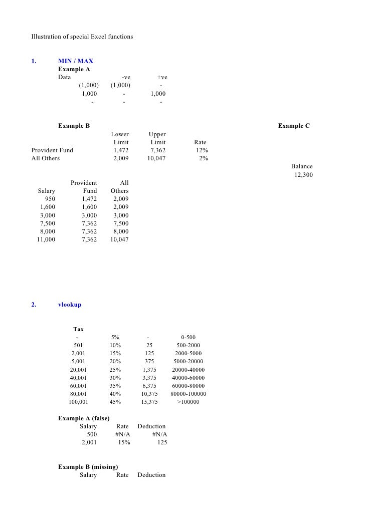 Illustration of special Excel functions   1.            MIN / MAX               Example A               Data              ...