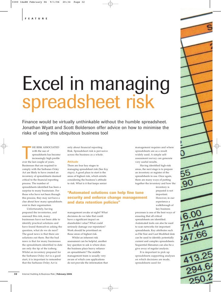 0300 IA&BR February 06           9/1/06      20:34        Page 32             FEATURE           Excel in managing       sp...