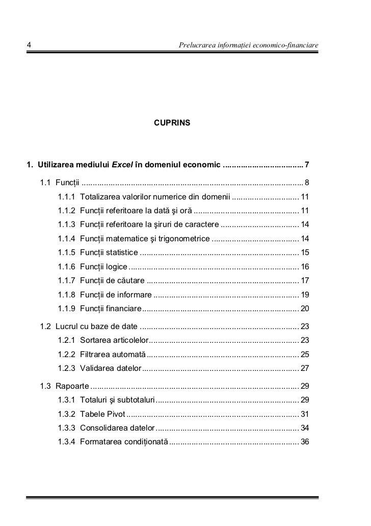4                                                             Prelucrarea informa iei economico-financiare                ...