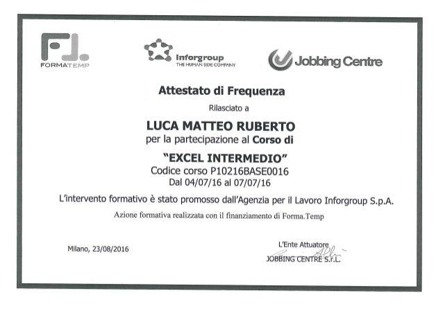 Attestato Frequenza Excel Livello Intermedio