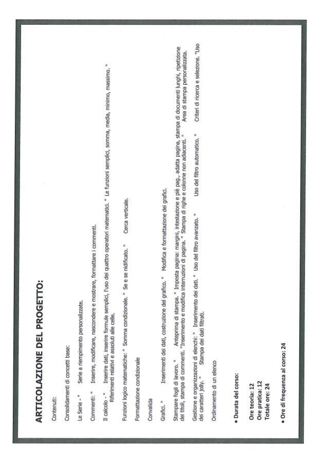 Attestato Frequenza Excel Livello Intermedio Slide 2