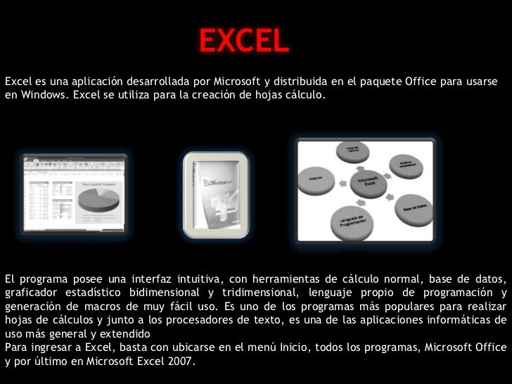 EXCELExcel es una aplicación desarrollada por Microsoft y distribuida en el paquete Office para usarseen Windows. Excel se...