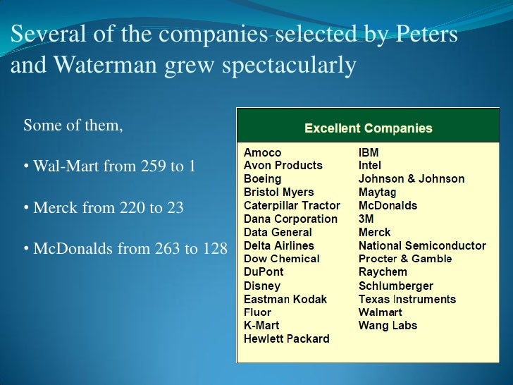 Excellence approach 12 several of the companies selected by petersand waterman publicscrutiny