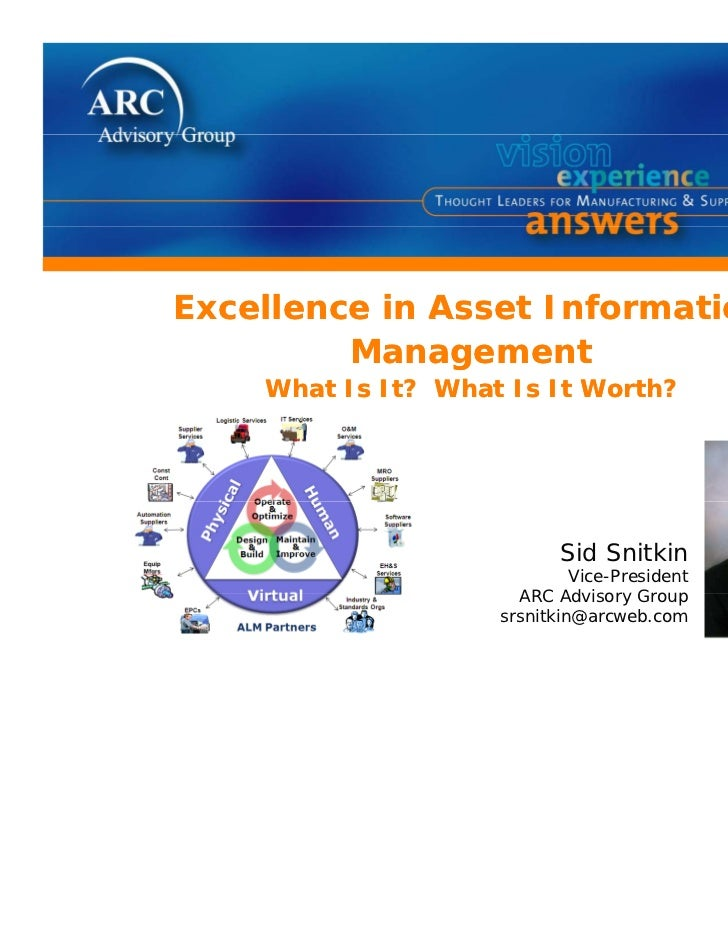 Excellence in Asset Information         Management    What Is It? What Is It Worth?                           Sid Snitkin ...