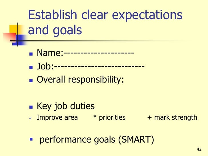 share work goals and plan work objectives priorities and responsibilities together Relationship between strategic plan goals and performance goals 48 program  evaluations 50  will work to restore impaired natural functions of forest and.