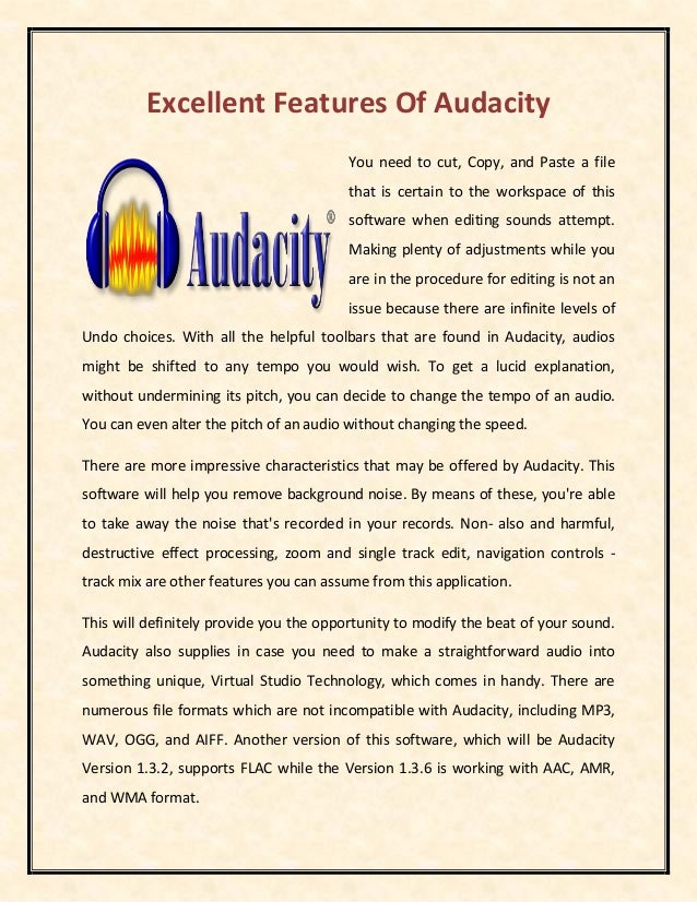Excellent features of audacity