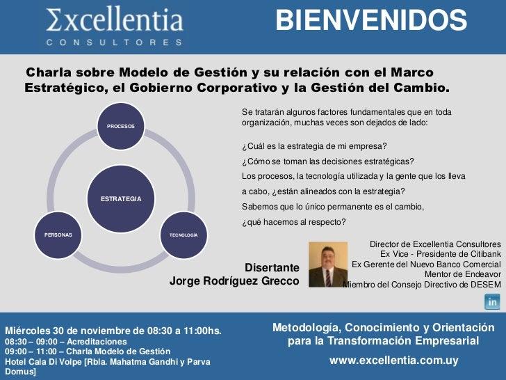 BIENVENIDOS    Charla sobre Modelo de Gestión y su relación con el Marco    Estratégico, el Gobierno Corporativo y la Gest...