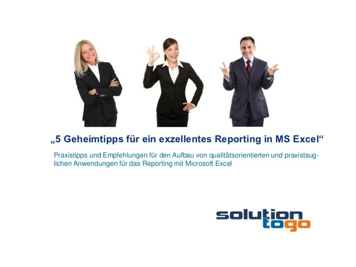 """""""5 Geheimtipps für ein exzellentes Reporting in MS Excel""""Praxistipps und Empfehlungen für den Aufbau von qualitätsorientie..."""