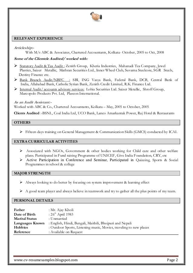 excellent work experience professional chartered accountant resume sample