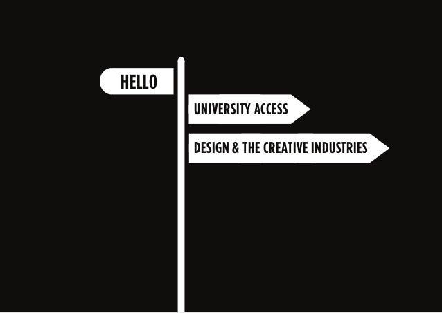 UNIVERSITY ACCESS HELLO DESIGN & THE CREATIVE INDUSTRIES