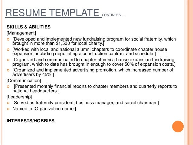 RESUME TEMPLATE CONTINUESu2026 SKILLS U0026 ABILITIES ...  Skills And Abilities On Resume