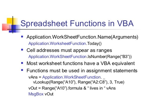 Excell vba – Vba Worksheet Function