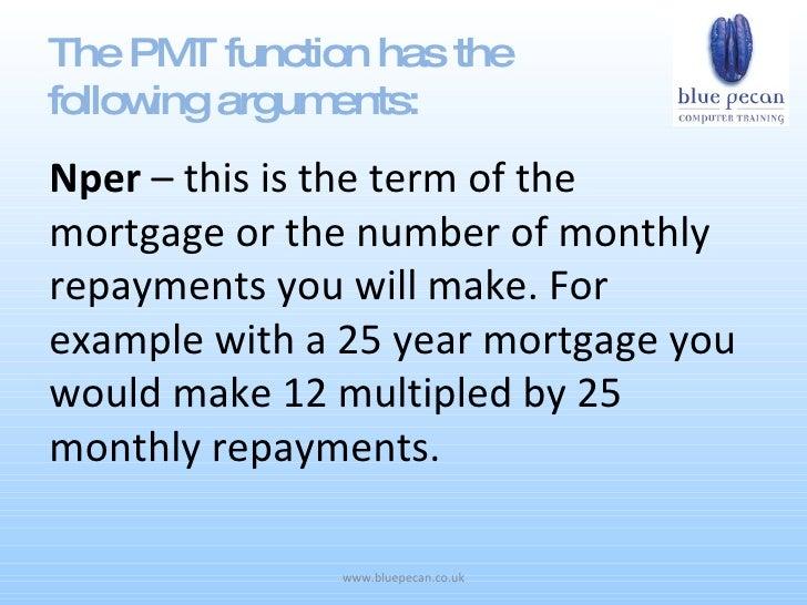 mortgage excel formula
