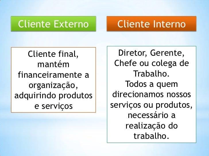 Cliente Externo        Cliente Interno    Cliente final,      Diretor, Gerente,       mantém          Chefe ou colega de f...