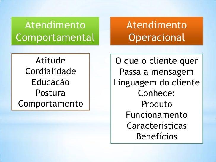 Atendimento       AtendimentoComportamental     Operacional   Atitude       O que o cliente quer Cordialidade      Passa a...