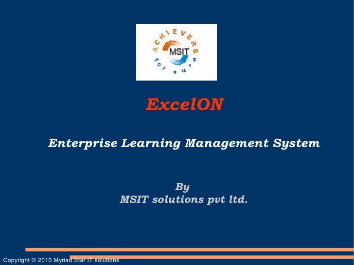 ExcelON                 Enterprise Learning Management System                                                        By   ...