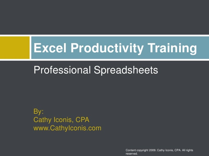 Professional Spreadsheets<br />By:Cathy Iconis, CPAwww.CathyIconis.com<br />Excel Productivity Training<br />Content copyr...