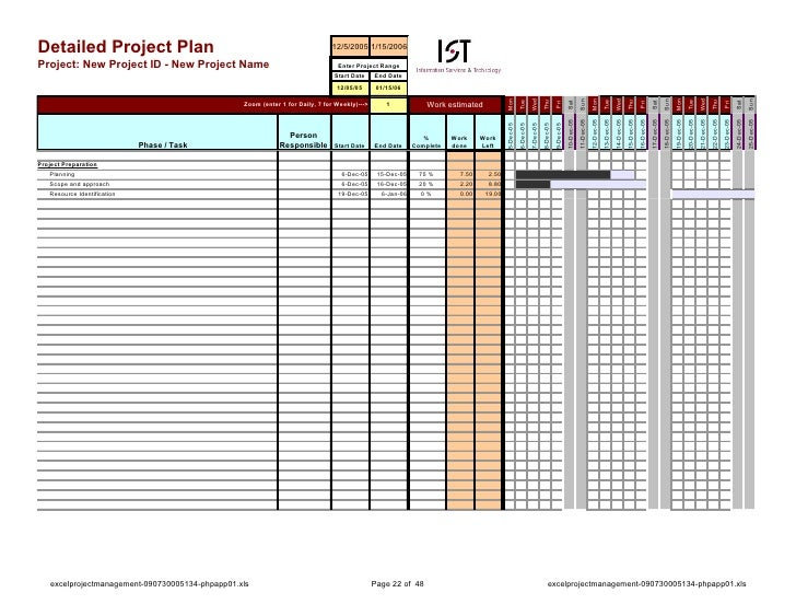 project planning excel sheet