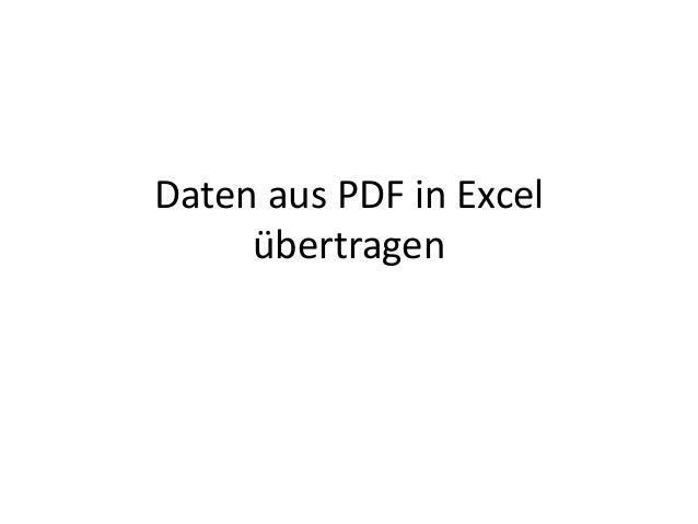 Daten aus PDF in Excel übertragen