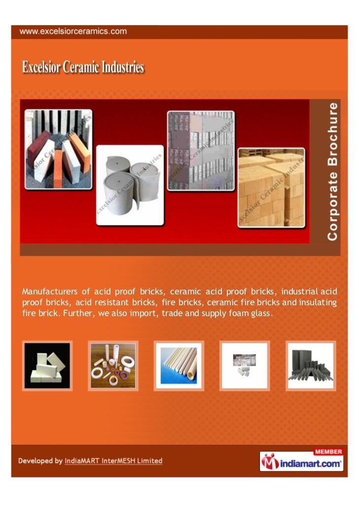 Manufacturers of acid proof bricks, ceramic acid proof bricks, industrial acidproof bricks, acid resistant bricks, fire br...